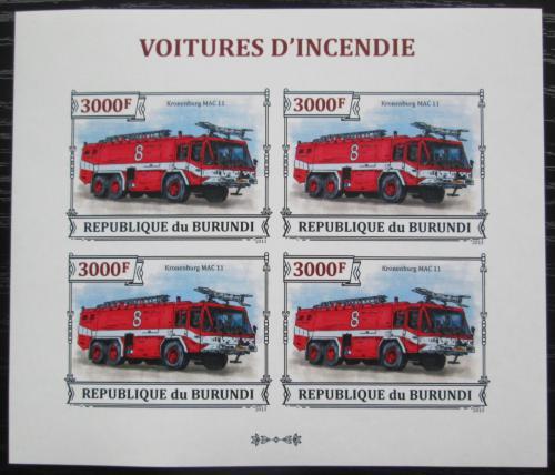 Poštovní známky Burundi 2013 Hasièské auto neperf. Mi# 3300 B Bogen