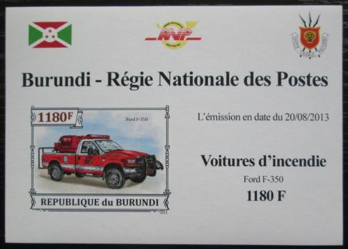 Poštovní známka Burundi 2013 Hasièské auto DELUXE Mi# 3299 B Block