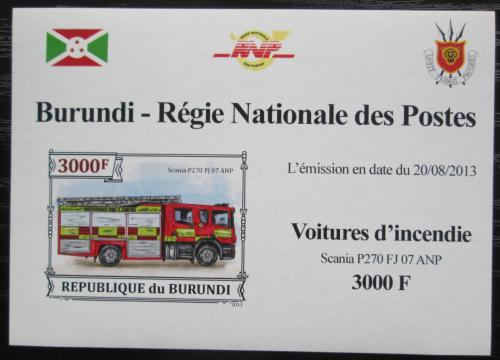 Poštovní známka Burundi 2013 Hasièské auto DELUXE Mi# 3301 B Block