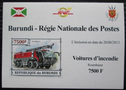 Poštovní známka Burundi 2013 Hasièské auto DELUXE Mi# 3302 B Block