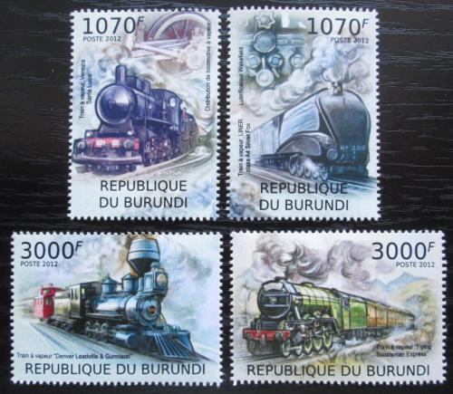 Poštovní známky Burundi 2012 Parní lokomotivy Mi# 2436-39 Kat 10€