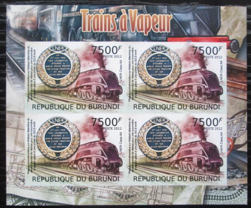 Poštovní známky Burundi 2012 Parní lokomotivy neperf. Mi# 2440 B Bogen