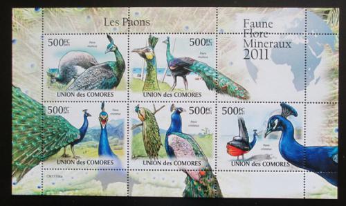 Poštovní známky Komory 2011 Pávi Mi# 3018-22 Bogen Kat 12€