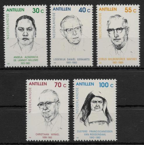 Poštovní známky Nizozemské Antily 1992 Osobnosti Mi# 754-58