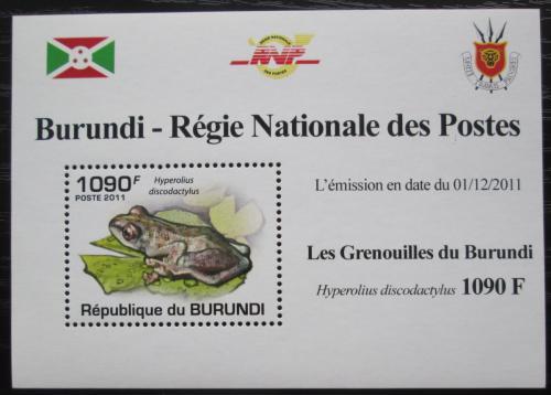 Poštovní známka Burundi 2011 Žába DELUXE Mi# 2063 Block