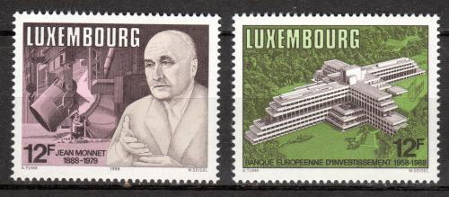 Poštovní známky Lucembursko 1988 Evropská investièní banka, J. Monnet Mi# 1207-08