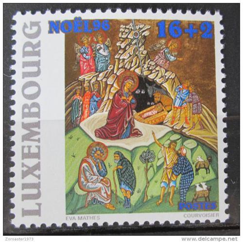Poštovní známka Lucembursko 1996 Vánoce, narození Krista Mi# 1408 Kat 4.20€