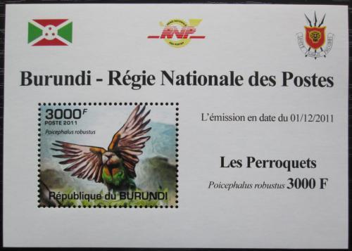 Poštovní známka Burundi 2011 Papoušek kapský DELUXE Mi# 1980 Block