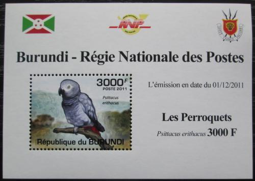 Poštovní známka Burundi 2011 Papoušek šedý DELUXE Mi# 1981 Block