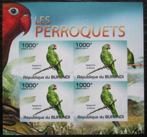 Poštovní známky Burundi 2011 Agapornis oranžovohlavý neperf. Mi# 1978 B Bogen