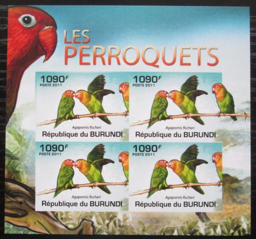 Poštovní známky Burundi 2011 Papoušík Fischerùv neperf. Mi# 1979 B Bogen