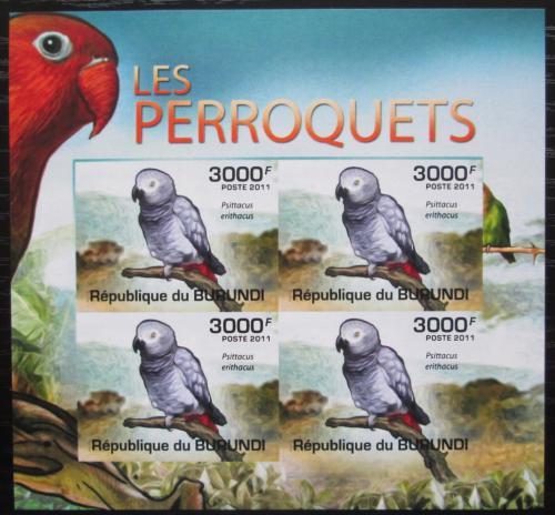 Poštovní známky Burundi 2011 Papoušek šedý neperf. Mi# 1981 B Bogen