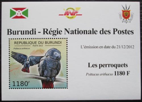 Poštovní známka Burundi 2013 Papoušek šedý DELUXE Mi# 2813 Block