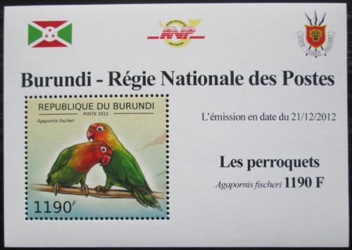 Poštovní známka Burundi 2013 Papoušík Fischerùv DELUXE Mi# 2814 Block