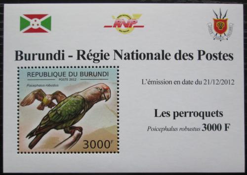 Poštovní známka Burundi 2013 Papoušek kapský DELUXE Mi# 2815 Block