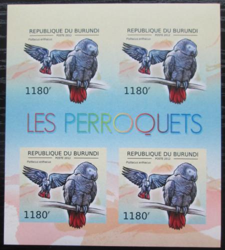 Poštovní známky Burundi 2013 Papoušek šedý neperf. Mi# 2813 B Bogen