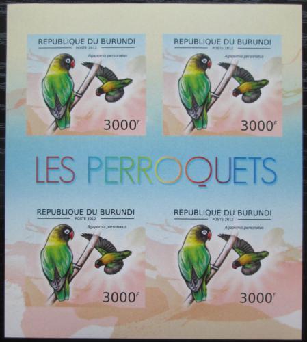 Poštovní známky Burundi 2013 Papoušík škraboškový neperf. Mi# 2816 B Bogen