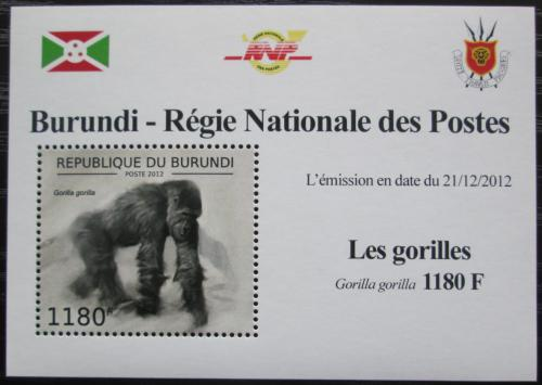 Poštovní známka Burundi 2012 Gorila západní DELUXE Mi# 2848 Block