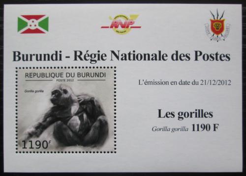 Poštovní známka Burundi 2012 Gorila západní DELUXE Mi# 2849 Block