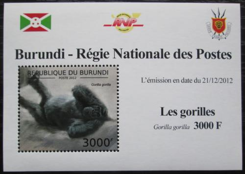 Poštovní známka Burundi 2012 Gorila západní DELUXE Mi# 2850 Block