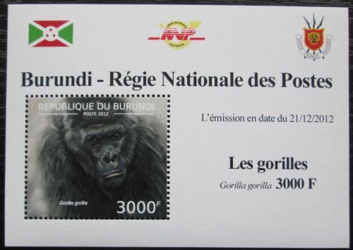 Poštovní známka Burundi 2012 Gorila západní DELUXE Mi# 2851 Block