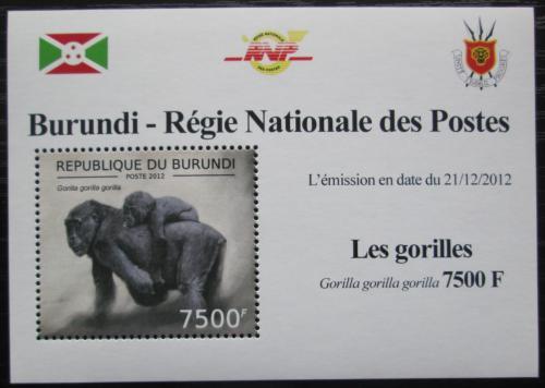 Poštovní známka Burundi 2012 Gorila západní DELUXE Mi# 2852 Block