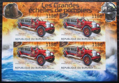 Poštovní známky Burundi 2012 Hasièská auta neperf. Mi# 2898 B Bogen