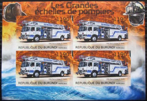 Poštovní známky Burundi 2012 Hasièská auta neperf. Mi# 2899 B Bogen