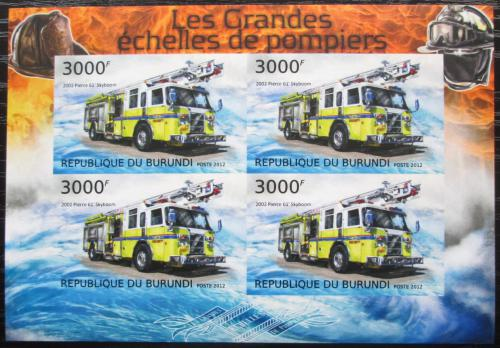 Poštovní známky Burundi 2012 Hasièská auta neperf. Mi# 2900 B Bogen