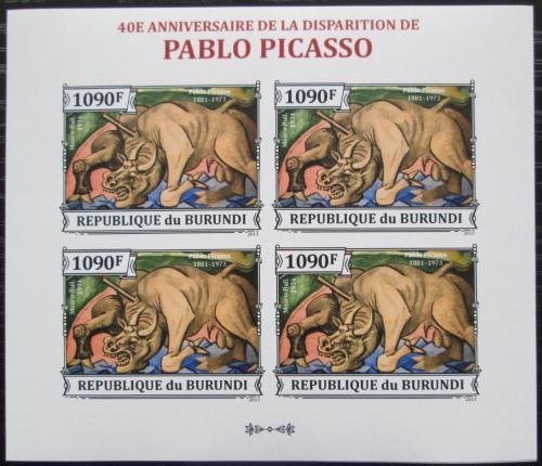 Poštovní známky Burundi 2013 Umìní, Pablo Picasso neperf. Mi# 3313 B Bogen