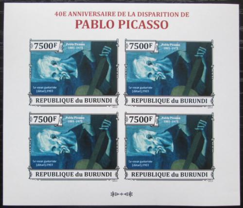 Poštovní známky Burundi 2013 Umìní, Pablo Picasso neperf. Mi# 3317 B Bogen