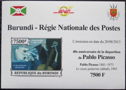 Poštovní známka Burundi 2013 Umìní, Pablo Picasso neperf. Mi# 3317 B Block