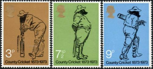 Poštovní známky Velká Británie 1973 Kriket Mi# 621-23