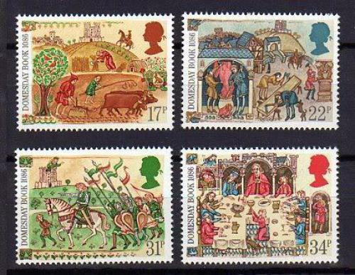 Poštovní známky Velká Británie 1986 Majetková kniha Domesday Book Mi# 1072-75