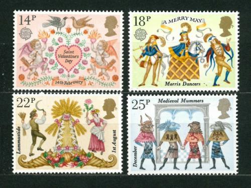 Poštovní známky Velká Británie 1981 Folklór Mi# 867-70