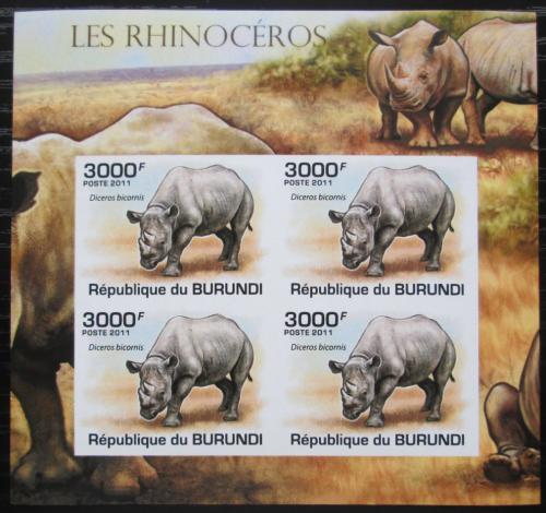 Poštovní známky Burundi 2011 Nosorožec dvourohý neperf. Mi# 2116 B Bogen