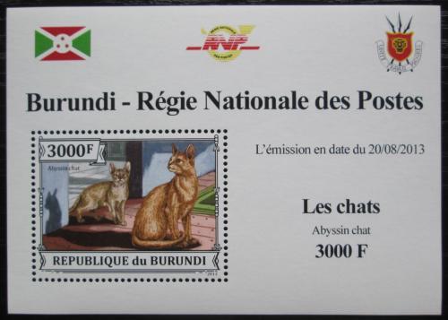 Poštovní známka Burundi 2013 Habešská koèka DELUXE Mi# 3251 Block