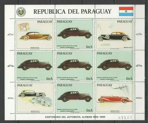 Poštovní známky Paraguay 1986 Historická auta Maybach Mi# 3993 Bogen Kat 24€