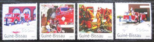Poštovní známky Guinea-Bissau 2003 Hasièská auta Mi# 2164-67 Kat 8€