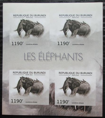 Poštovní známky Burundi 2012 Slon africký neperf. Mi# 2834 B Bogen