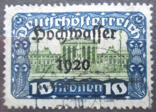 Poštovní známka Rakousko 1921 Budova parlamentu, pøetisk Povodnì Mi# 358