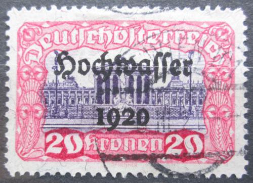 Poštovní známka Rakousko 1921 Budova parlamentu, pøetisk Povodnì Mi# 359