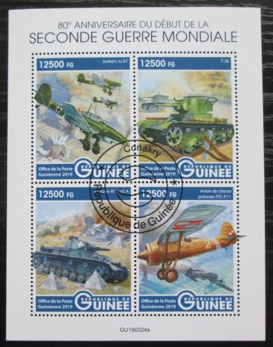 Poštovní známky Guinea 2019 Bojová technika 2. svìtové války Mi# N/N