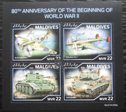 Poštovní známky Maledivy 2020 Bojová technika 2. svìtové války Mi# N/N
