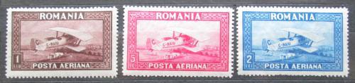 Poštovní známky Rumunsko 1928 Letadlo Doppeldecker Spad 33 Mi# 336-38 X Kat 30€