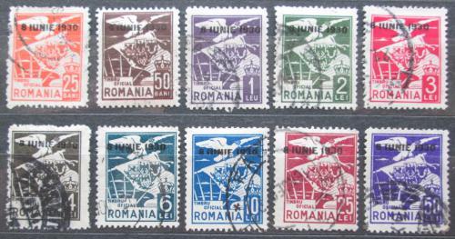 Poštovní známky Rumunsko 1930 Orel a znak, služební pøetiskMi# 11-20