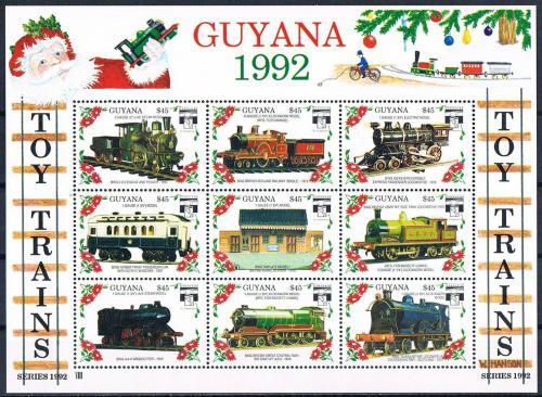 Poštovní známky Guyana 1992 Modely lokomotiv a vagónù Mi# 3961-69