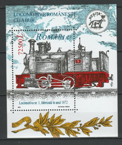 Poštovní známka Rumunsko 2002 Parní lokomotiva Mi# Block 323 Kat 7€