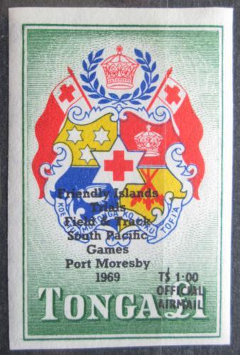 Poštovní známka Tonga 1968 Státní znak pøetisk, služební Mi# 34