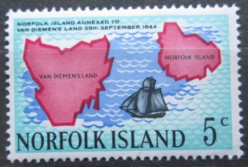 Poštovní známka Norfolk 1969 Mapa Mi# 102